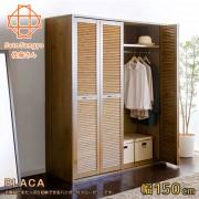 【Sato】PLACA衣裳嘉年華百葉滑門四門衣櫃‧幅150cm-優雅棕