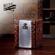 【MUSE】Dwight德維特復古工業風鋁質牛皮收藏箱