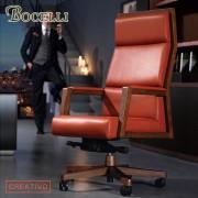 【BOCELLI】CREATIVO創意風尚高背辦公椅(義大利牛皮)橘紅