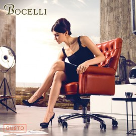 【BOCELLI】GUSTO品味風尚中背辦公椅(義大利牛皮)橘紅