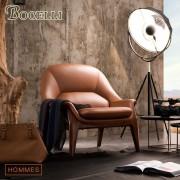 【BOCELLI】HOMMES型男風尚沙發1seat(義大利牛皮)優雅褐