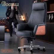 【BOCELLI】MESTIERI工藝風尚高背辦公椅(義大利牛皮)經典黑
