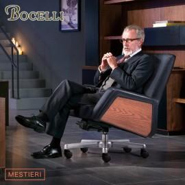 【BOCELLI】MESTIERI工藝風尚中背辦公椅(義大利牛皮)經典黑