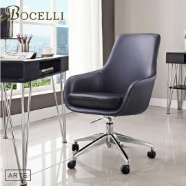 【BOCELLI】ARTE藝術風尚中背辦公椅(義大利牛皮)經典黑