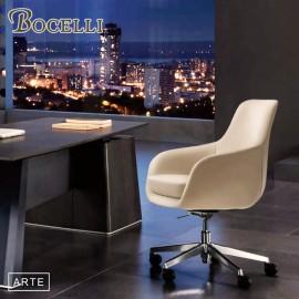 【BOCELLI】ARTE藝術風尚中背辦公椅(義大利牛皮)優雅米