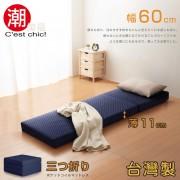 【C'est Chic】二代目日式三折獨立筒彈簧床墊-幅60cm-藍